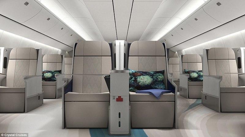 Летающий пятизвездочный отель Интерьер и возможности Боинга-777 американской туристической компании Crystal Skye