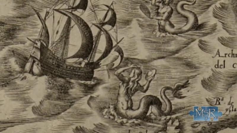 Alte Karte aus dem 16. Jh. zeigt Meerjungfrau mit UFO
