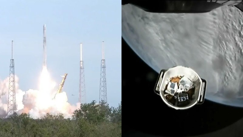 Falcon 9 launches CRS-14 Dragon spacecraft solar array deployment