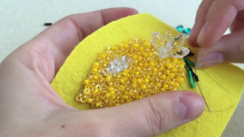 Мастер-класс по вышивке броши Лимон. Часть 3