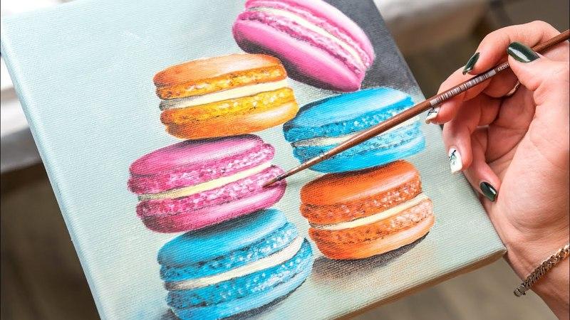 The Colorful Macaron Cake - Acrylic painting / Homemade Illustration (4k)