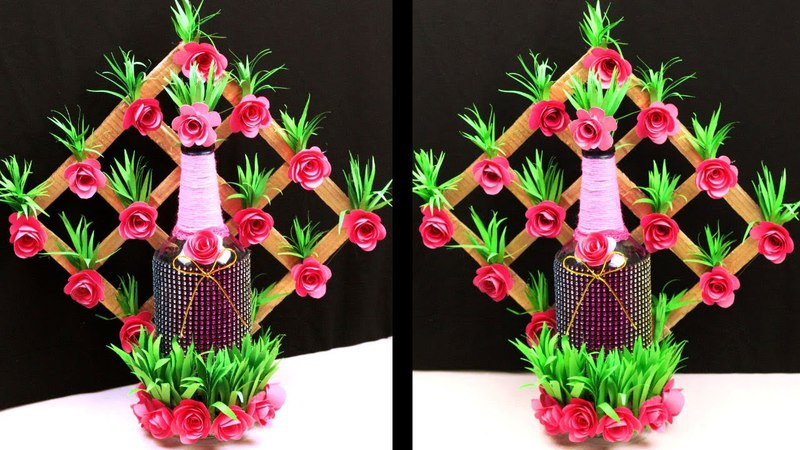 Best out of waste bottle paper flower vase Recycled bottle crafts Cardboard and paper crafts
