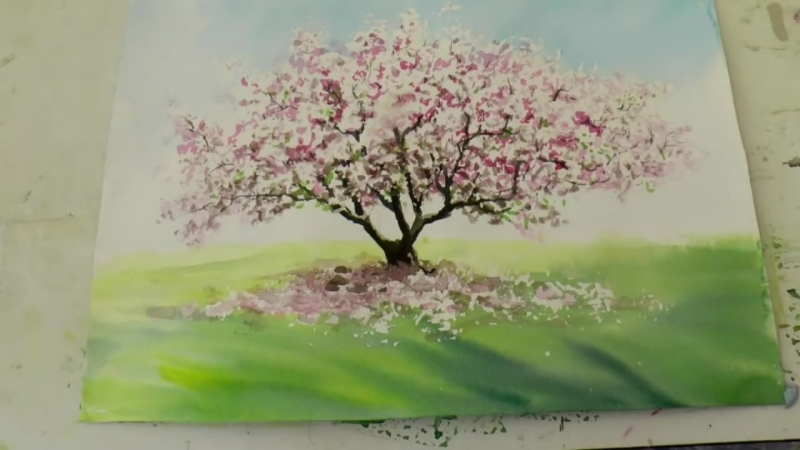 5 Очень Легко! Магнолия в цвету. Акварель. Very Easy. Magnolia blossom. Watercolour Tatjana Baker