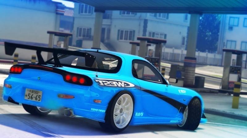 ErasableNinja GTA 5 MAZDA RX7 DRIFT MONTAGE Drifting To The Gas Station