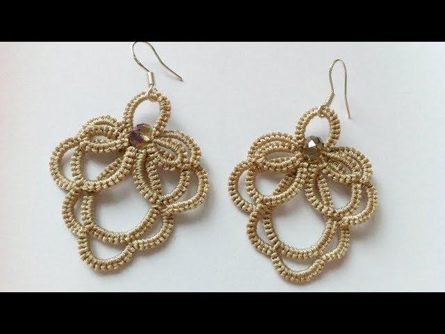 Серьги фриволите иглой видео мастер класс для начинающих DIY earrings frivolite needle