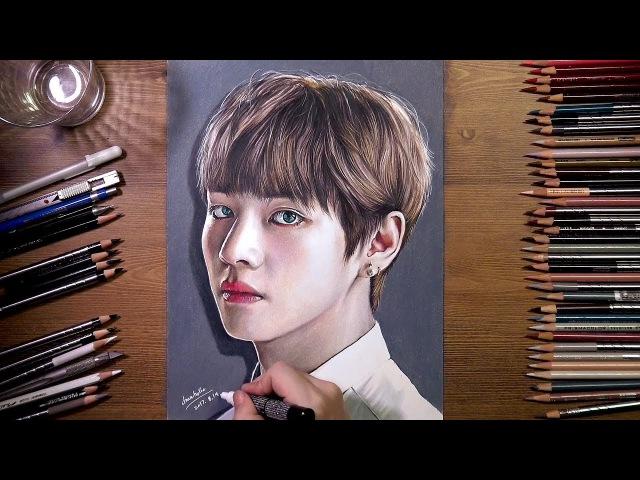 BTS : V (Tae Hyung) - colored pencil drawing   drawholic