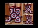 Вязаные Сапожки носки крючком из шестиугольников