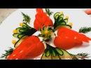 Как красиво нарезать помидоры и огурцы Украшения из овощей Карвинг помидор и