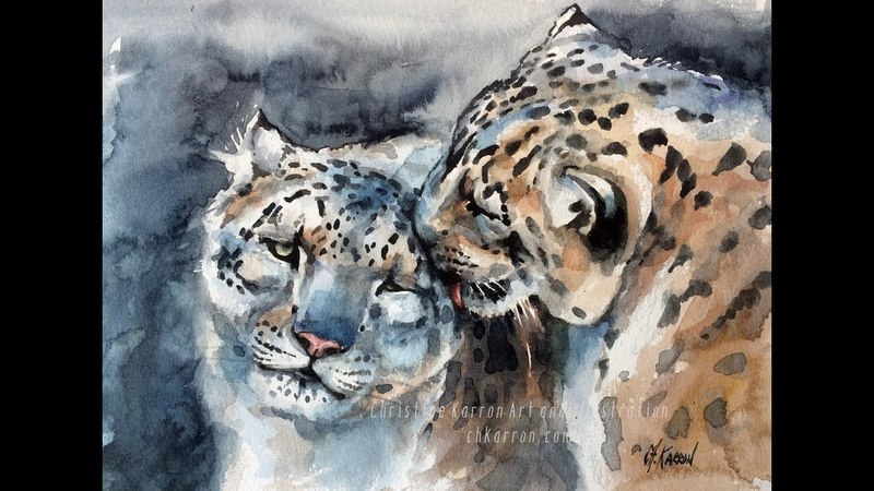 Snow Leopards watercolor painting demo by Ch.Karron
