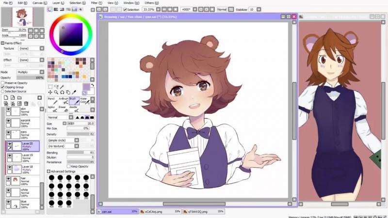 【Speedpaint】- Yan (как рисовать аниме в саи)