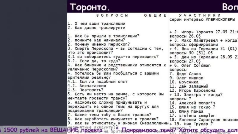 Вопросы для интервью: Игорь Торонто. . • ° Перископеры интервью вопросы список Перископ
