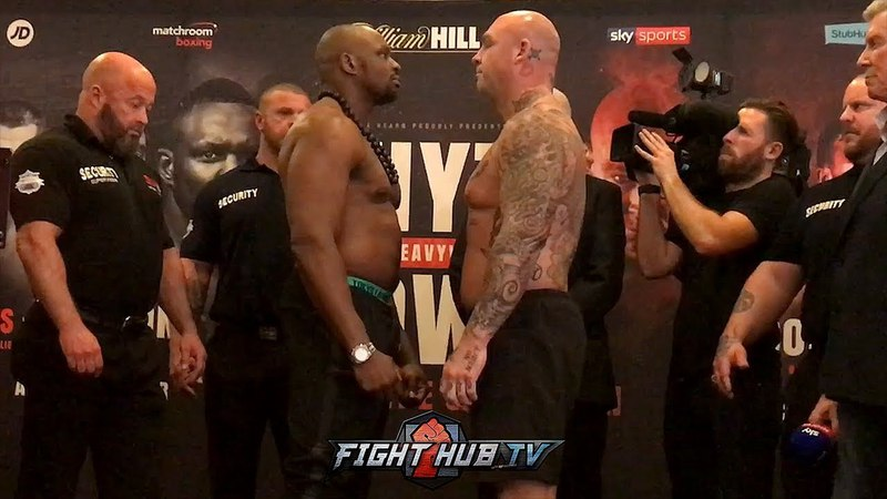 DILLIAN WHYTE LUCAS BROWNE SHOW RESPECT SHAKE HANDS AT WEIGH IN FACE OFF!