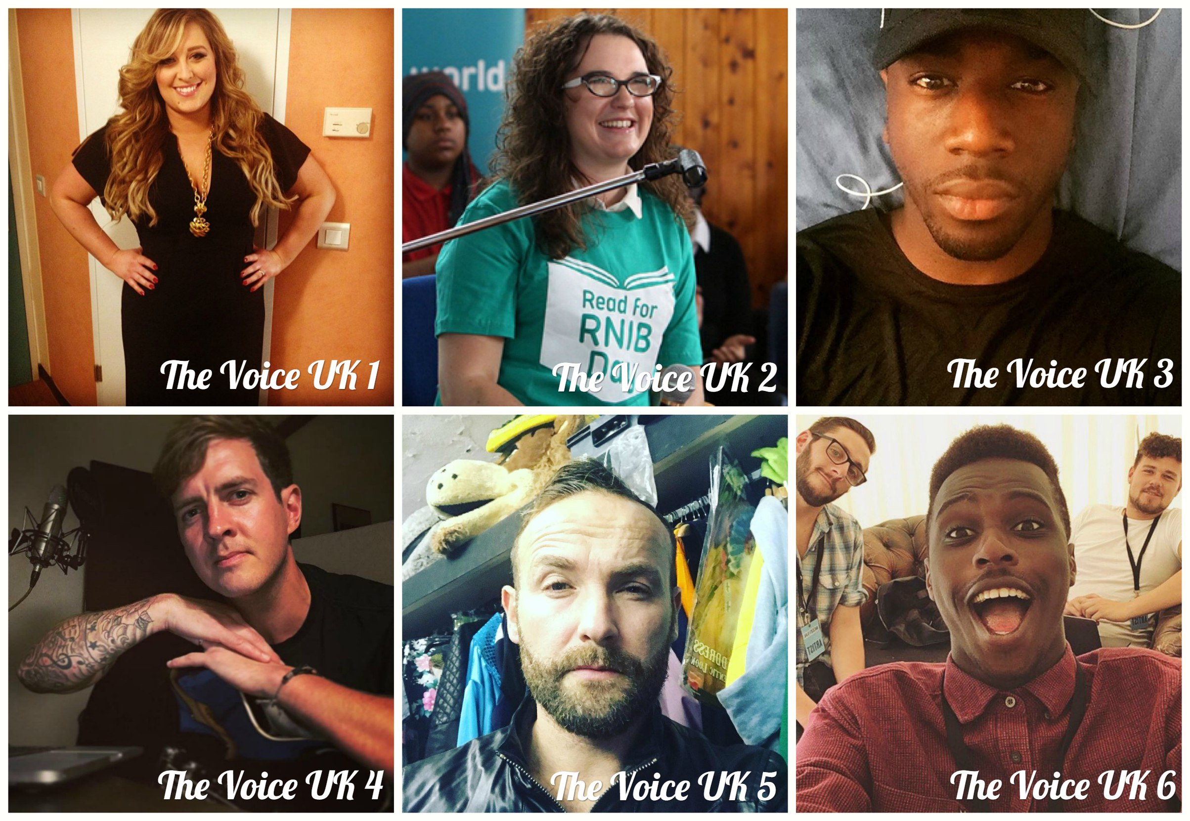All winners of The Voice UK of all seasons Leanne Mitchell, Andrea Begley, Jermain Jackman, Stevie McCrorie, Kevin Simm, Mo Adeniran