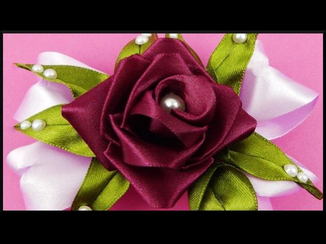 DIY Kanzashi | Stoff Blumen Schleifen Haarspange | Ribbon flower / rose bow barrette | accessories