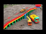 Cars toy videos for Children | Building bridge with car, truck, excavator Max | Songs for Kids