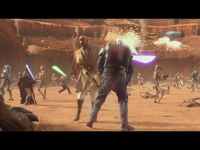 Магистр Винду убивает Джанго Фетта / 200 Мастеров-Джедаев против армии Дроидов