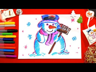 Добрый СНЕГОВИК на Новый год своими руками нарисовать / РыбаКит папа рисует