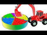 Learn Colors for Kids | Excavator and Rainbow Balls Colurs for Children Educational Video