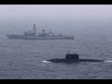HMS Somerset F82 сопровождает российскую подводную лодку Краснодар в проливе Ла-Манш. 5 мая 2017