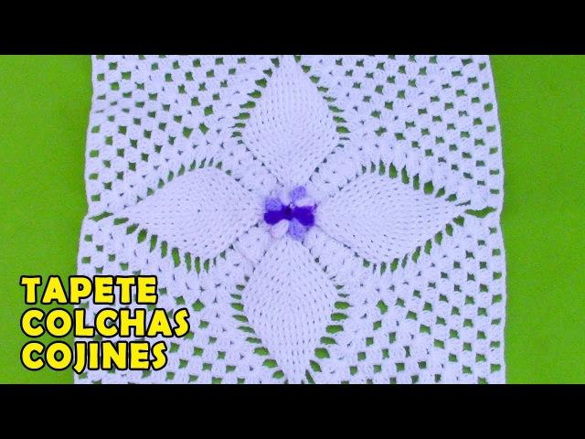 Cuadrado o muestra a crochet en punto hojitas en relieves para colchas cobijas y mantitas de bebe