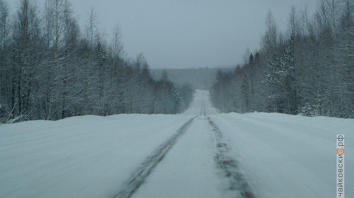дорога, снег, Чайковский, 2018 год