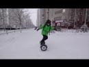 Жесткий тест драйв гироскутера ребенком зимой