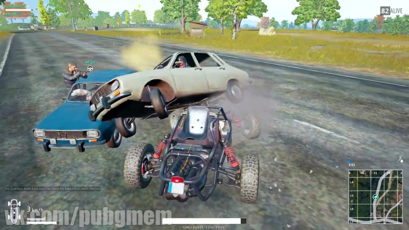 Схватка на автомабилях в PUBG (ПУБГ)