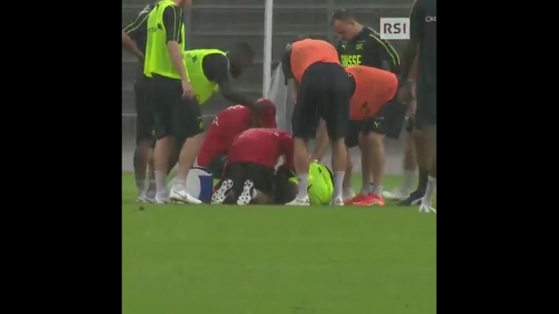 Granit Xhaka injured by Valon Behrami during practice session with Swiss squad He looks pretty distressed early reports per