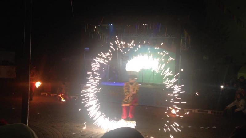 Праздник Масленицы в Краснодаре. Фаер-шоу на Пушкинской площади 18.02.2018 года