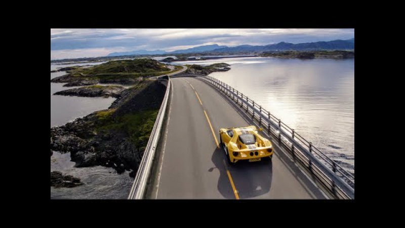 The Ford GT drives the iconic Atlantic Ocean Road in Norway Arctic Circle Raceway