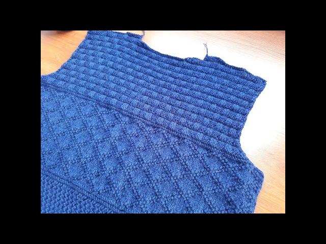 Пуловер (свитер) спицами для мужчин. Часть 3. Горловина спинки. Скосы плеча.