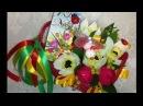 Мастер класс по изготовлению конфетной корзины с тюльпанами и нарциссами на 8 марта.