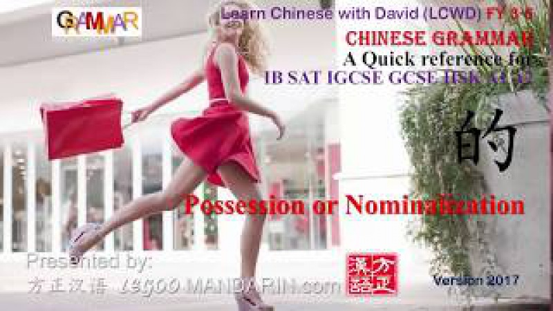 Chinese Grammar You must know - 的 Possession or Nominalization -Quick Reference for IB SAT HSK GCSE
