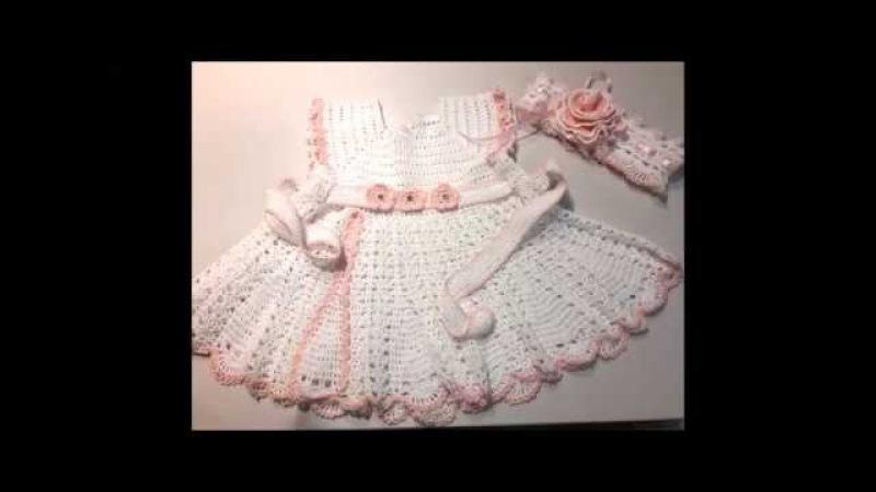 Платье для крещения крючком. Часть 1. Taufkleid für Mädchen häckeln, Teil I