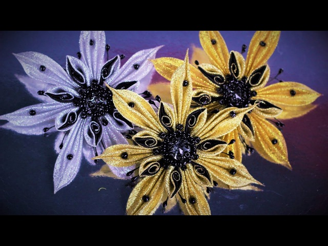 СНЕЖИНКА - ЗАКОЛКА (брошь) из лент, мастер класс, КАНЗАШИ / DIY Kanzashi Christmas Snowflake
