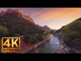 4K (Ultra HD) Relaxation Video - 2 HRS River Sounds  Virgin River at Zion National Park - Part 1