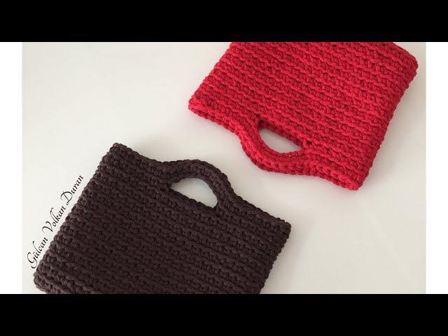 Penye ipten el çantası yapımı -1 (spagetti yarn XXLace )
