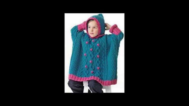 Ponchos para niños tejidos en crochet y dos agujas