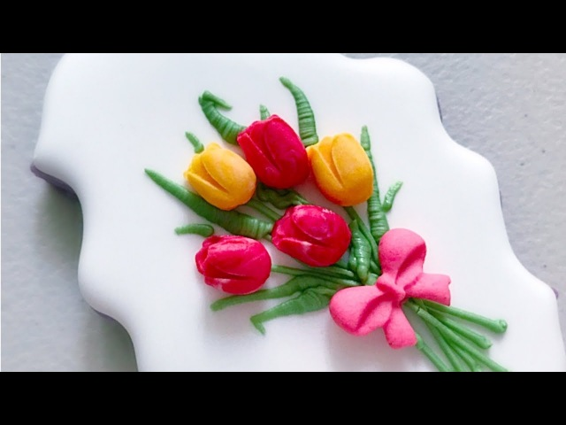 How to make simple Tulip Bouquet Cookies.