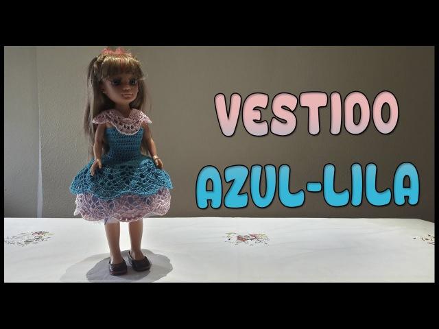 Vestido Azul-Lila para muñeca Nancy