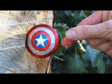 THROWING Captain America's Mini Titanium Shield - BrainfooTV
