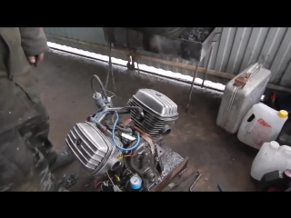 Самодельный двигатель в-твин днепр .A homemade twin-engine