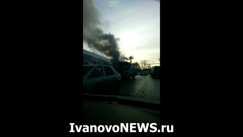 В Шуе сгорел автобус