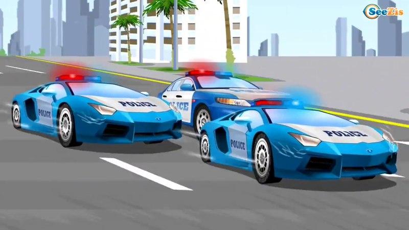 Отряд полицейских машинок устраивает погоню за гонщиками