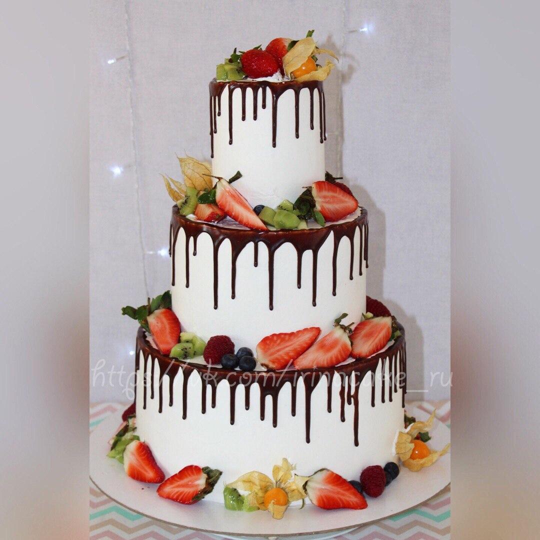 Свадебный торт с фруктами (арт. 0010)