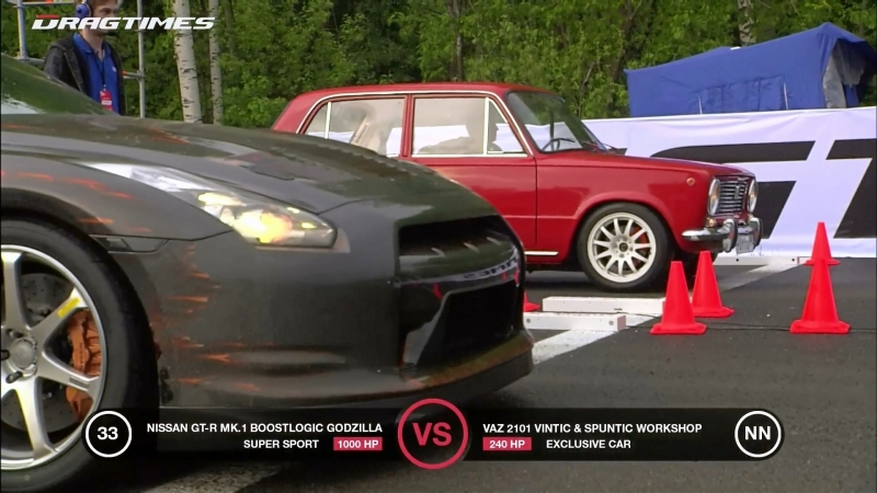 Lada 2101 VS vs. Porsche 911 Carrera RS vs. Nissan GT-R Boostlogic Godzilla (Funny ride)