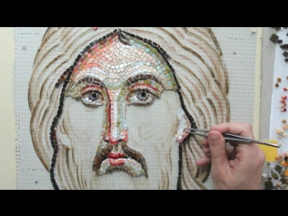 Mosaic Christ Pantocrator, working on face part1