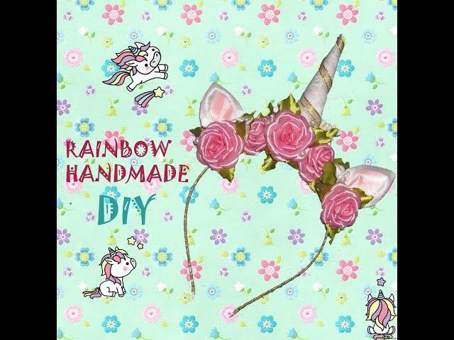 DIY Ободок единорога с розами и жемчугом Tiara of unicorn with roses and perls