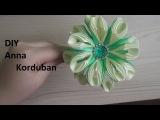 Весенний ободок канзаши из атласной ленты 1см МК, Borda Primavera de Kansas de fita de cetim 1cm MK