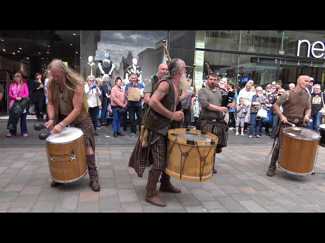 Clanadonia perform Last of the Mohicans in Perth City centre during Medieval Fayre Aug 2017